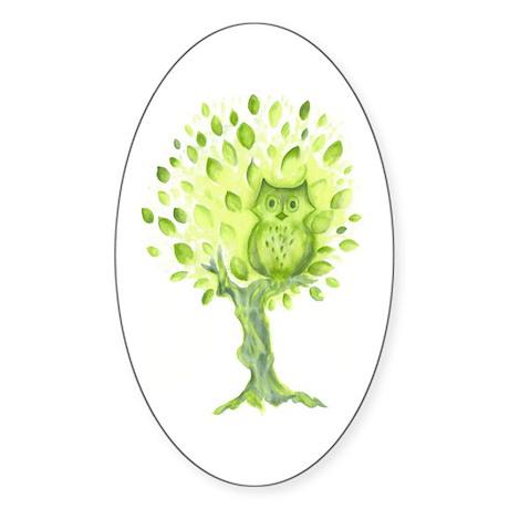 Owl in a Green Tree Oval Sticker