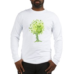 Owl in a Green Tree Long Sleeve T-Shirt