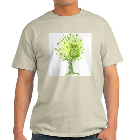 Owl in a Green Tree Light T-Shirt