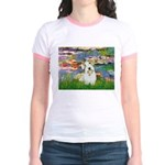 Lilies (#2)/Sealyham L2 Jr. Ringer T-Shirt
