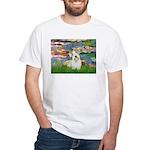 Lilies (#2)/Sealyham L2 White T-Shirt