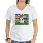Lilies (#2)/Sealyham L2 Women's V-Neck T-Shirt