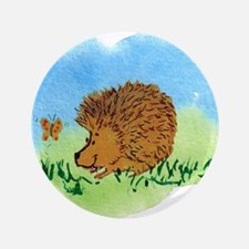 """Hedgehog and Butterfly 3.5"""" Button"""