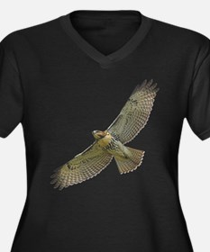 Soaring Red-tail Hawk Women's Plus Size V-Neck Dar