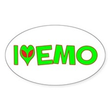 I Love-Alien Emo Oval Decal