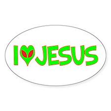 I Love-Alien Jesus Oval Decal
