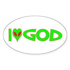 I Love-Alien God Oval Decal