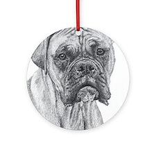Boxer Pencil Blk Mask Ornament (Round)