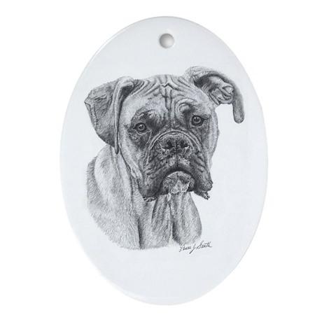 Boxer Pencil Blk Mask Oval Ornament