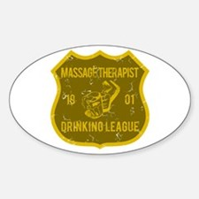 Massage Therapist Drinking League Oval Decal