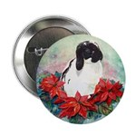 Rabbit in Poinsettia Button
