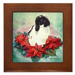 Rabbit in Poinsettia Framed Tile
