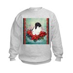 Rabbit in Poinsettia Kids Sweatshirt