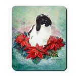 Rabbit in Poinsettia Mousepad