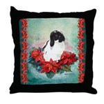 Rabbit in Poinsettia Throw Pillow