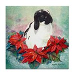Rabbit in Poinsettia Tile Coaster