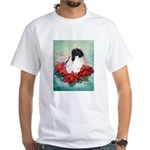 Rabbit in Poinsettia White T-Shirt