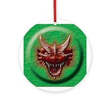 Red Dragon Head Ornament (Round)