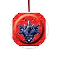 Blue Dragon Head Ornament (Round)