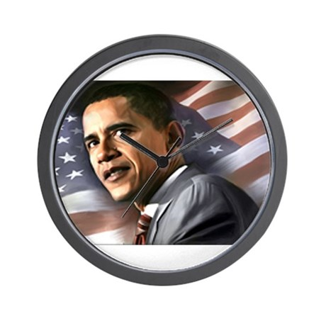 Flag Background with Obama Wall Clock