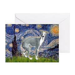 Starry Night/Italian Greyhoun Greeting Cards (Pk o