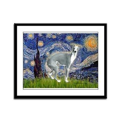 Starry Night/Italian Greyhoun Framed Panel Print