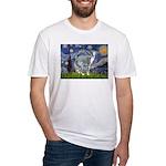 Starry Night/Italian Greyhoun Fitted T-Shirt
