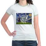 Starry Night/Italian Greyhoun Jr. Ringer T-Shirt
