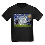 Starry Night/Italian Greyhoun Kids Dark T-Shirt