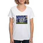 Starry Night/Italian Greyhoun Women's V-Neck T-Shi