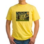 Starry Night/Italian Greyhoun Yellow T-Shirt