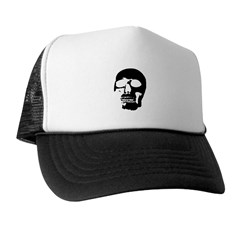 Black and White Goth Skull Trucker Hat