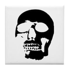 Black and White Goth Skull Tile Coaster