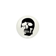 Black and White Goth Skull Mini Button (10 pack)