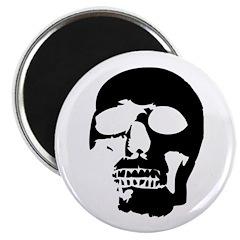 """Black and White Goth Skull 2.25"""" Magnet (100"""