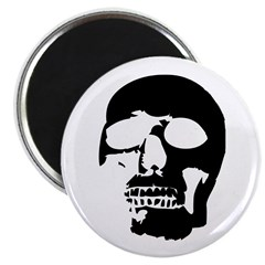 "Black and White Goth Skull 2.25"" Magnet (10 p"