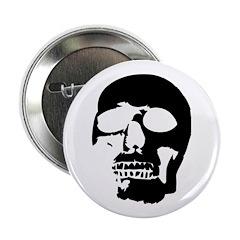 "Black and White Goth Skull 2.25"" Button (10 p"