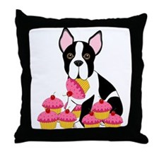 Boston Terrier with Cupcakes Throw Pillow