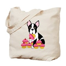 Boston Terrier with Cupcakes Tote Bag