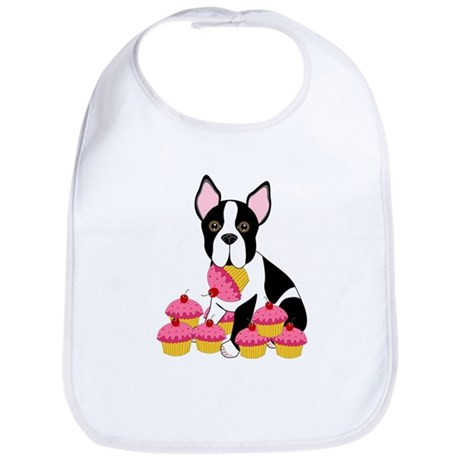 Boston Terrier with Cupcakes Bib