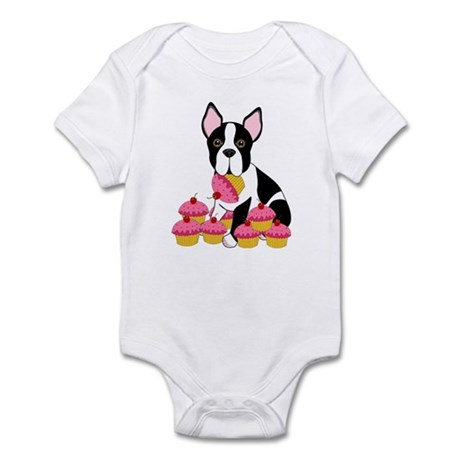 Boston Terrier with Cupcakes Infant Bodysuit