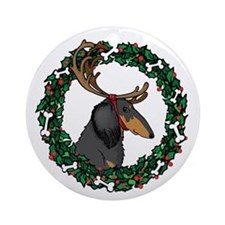 Christmas Wreath Longhaired Dachshund Ornament (Ro