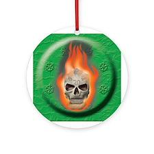 Burning D20 Skull Ornament (Round)