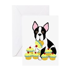 Boston Terrier Cupcakes Greeting Card