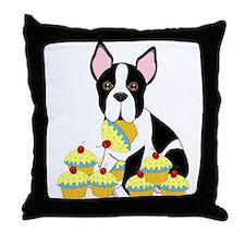 Boston Terrier Cupcakes Throw Pillow