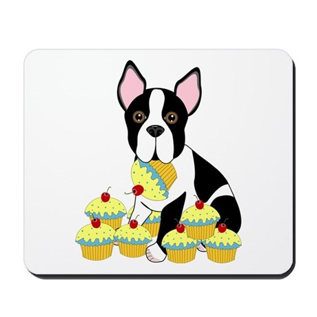 Boston Terrier Cupcakes Mousepad
