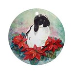 Rabbit in Poinsettia Ornament (Round)