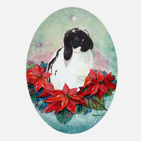 Rabbit in Poinsettia Oval Ornament
