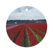 Red Tulip Rows Ornament (Round)