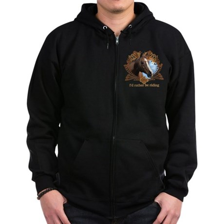 I'd Rather Be Riding Horses Zip Hoodie (dark)